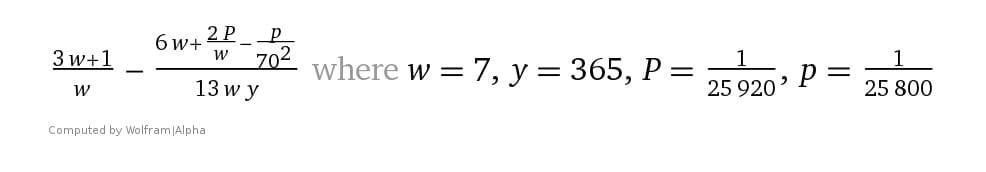 archangels-assigned-keep-orderly-cosmos/wolframalpha-_3w_1__w_____6w____2p___w___p__70_2____13_wy___where_w____7__y___365__p____1_25920__p____1_25800