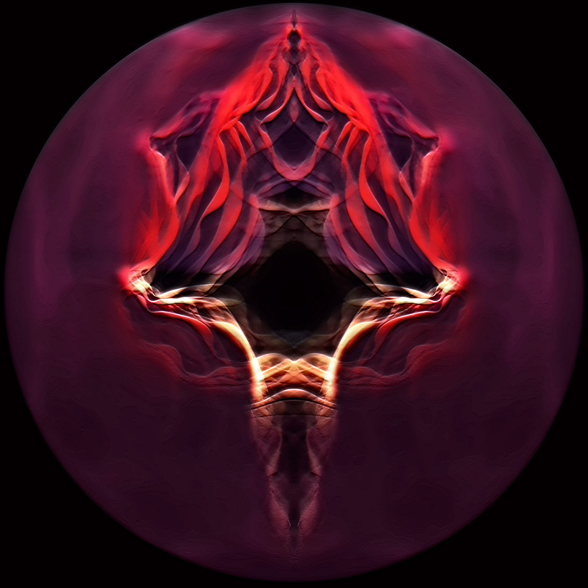 Fractal of the burnt offering of Christ on the cross as a sacrificed bull going up in flames and more