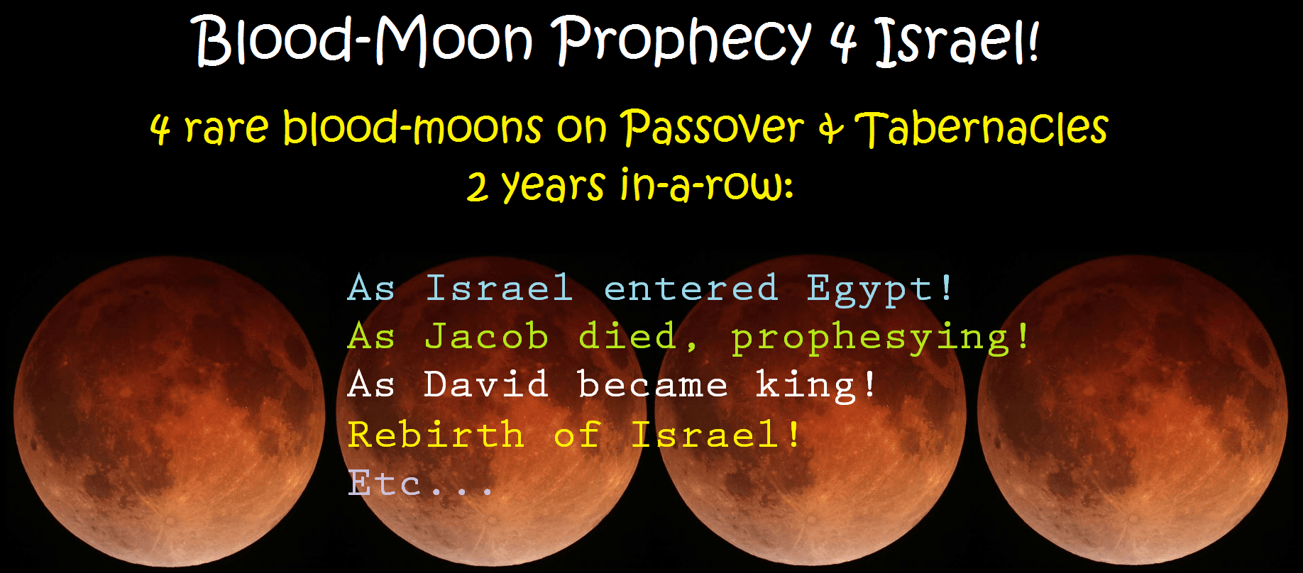 Blood-Moon Prophecy (Israel's Passover-Tabernacles Tetrads)